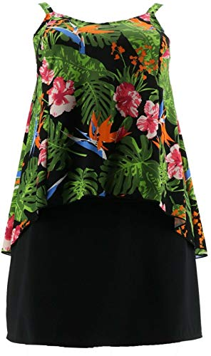 Denim & Co Beach Hi-Low Tankini Swimsuit Skirt Black Tropical 14 New A303155 ()