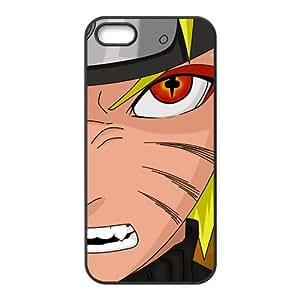 Naruto - Japanese Anime Cartoon Black Case Plastic Cover for iPhone 5S, Uzumaki Naruto Face Kubi Evil Fox Eye Shell Skin