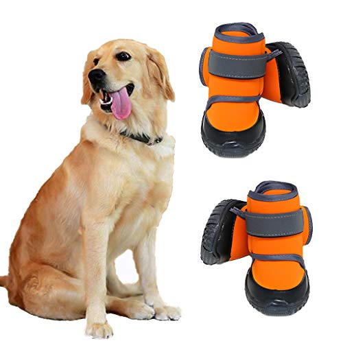 JiAmy Dog Shoes Waterproof Dog Boots Snow Dog Booties Dogs Paw Protection with Anti-Slip Sole, Dog Snow Socks for Shepherd, Rottweiler, Bernese Mountain Dog