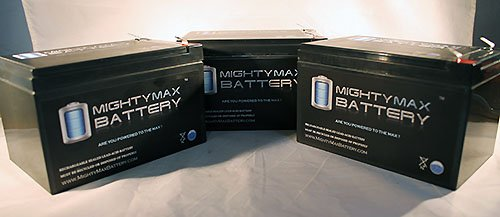 ML12-12 - 12V 12AH F2 BATTERY EZIP SCOOTER 650 750 900 - 3 Pack - Mighty Max Battery brand product
