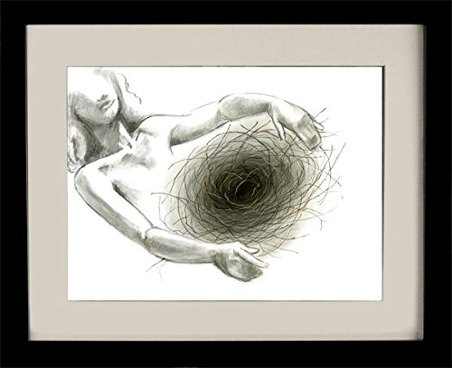 Nest, charcoal drawing