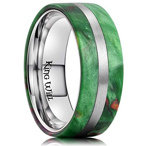 King Will 8mm Men Titanium Wedding Ring Inlaid Green Resin&Slender Silver Titanium Flat Style - Green Resin Mens