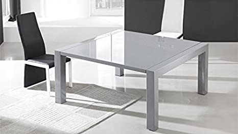 Stavena Mesa de Comedor Cuadrada Extensible Gris – Veliki – 120 x ...
