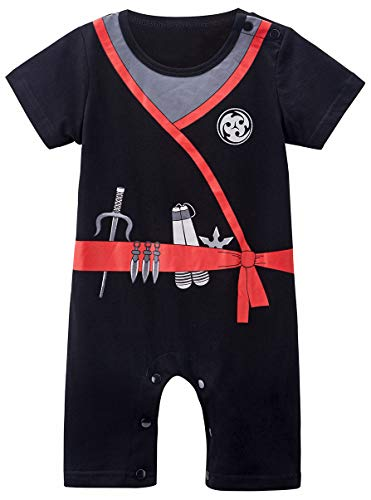 COSLAND Toddler Baby Boys' Ninja Romper Halloween Costume (Black, 18-24 Months)]()