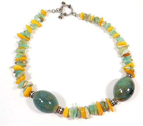 Amber Sweet Costume (Amber and Blue/Green Opal with Ceramic Beads Choker Necklace)