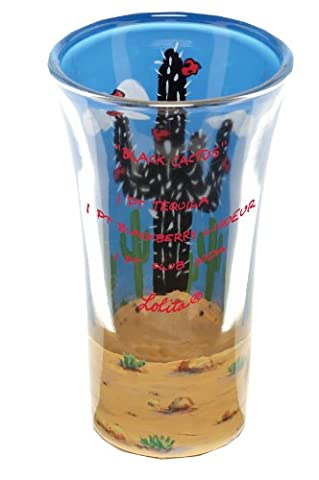 Lolita Hand Painted Shooter Glass, Black Cactus