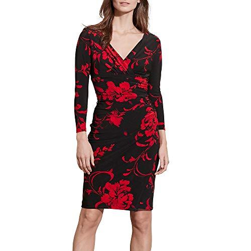- Lauren Ralph Lauren Women's Floral-Print Surplice Jersey Dress Black/Red 8