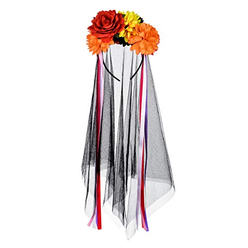 DDazzling Halloween Headband Day of the Dead Headband Floral Headband Festival wear (Orange Red Yellow Black Rose)]()