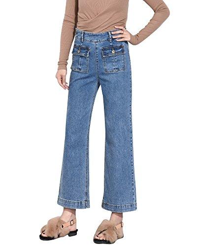 ShiFan Vaqueros De Cintura Alta Pantalones Rectos con Bolsillo para Mujer Azul