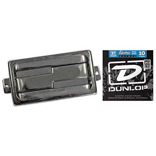 Lace Alumitone Humbucker Pickup - Chrome Ring w/ Dunlop DEN1052 Electric Guitar Strings 10-52 Strings