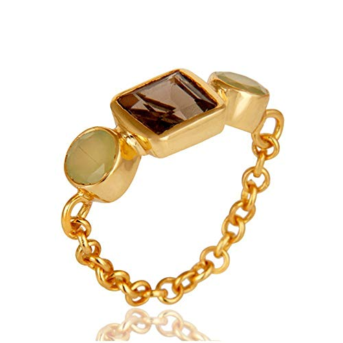 925 Sterling Silver Chain Link Ring, Smoky Quartz & Chalcedony Gemstone Jewelry, Gemstone Ring ()