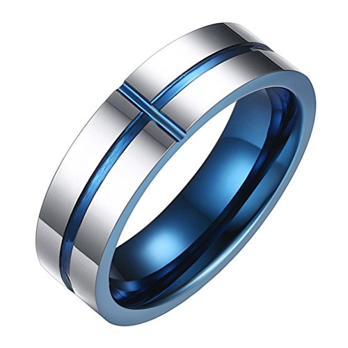 - Oakky Men's Tungsten Carbide Wedding Band Cross Ring Christian Jesus Lord Prayer Silver and Blue 6mm Size 11