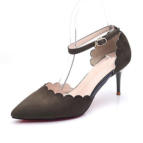 Sandalias Alto Zapatos Word Huecos Mujeres Consejos Tacón Verde De Pan Xiaoqi Finos Terciopelo Con Hebilla EqTqBZ