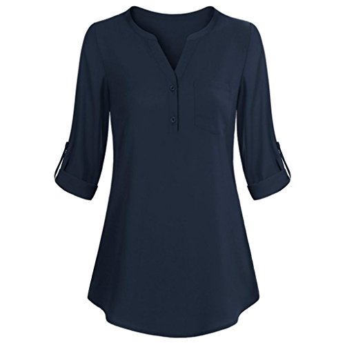 Womens Roll-up Long Sleeve Top Casual V Neck Layered Blouses SanCanSn Button T-Shirt (Lame Long Sleeve)