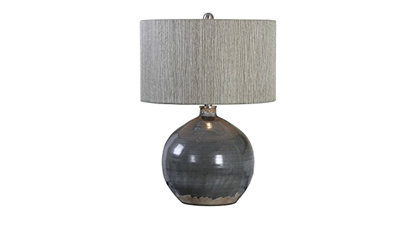 Uttermost 27215 1 Vardenis One Light Table Lamp Crackled Charcoal Gray Rust Brown Brushed Nickel Finish With Textured Woven Rattan Shade Amazon Com