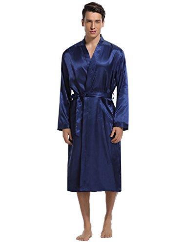 (Aibrou Men's Satin Robe Long Bathrobe Lightweight Sleepwear,Medium,Blue)