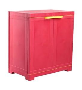 Nilkamal Freedom Mini Small Plastic Multipurpose Wardrobe - Bright Red and Yellow