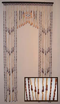 """Natural Bamboo & Wood Beaded Curtain, 35.25"""" W X 70"""" H With 31 Strands"""