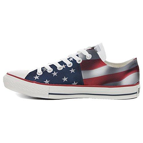 Converse Customized Chaussures Personnalisé et imprimés UNISEX (produit artisanal) drapeau des etats unis - size EU35