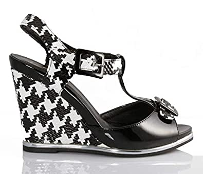 Lastrada Black Wedge Sandal For Women