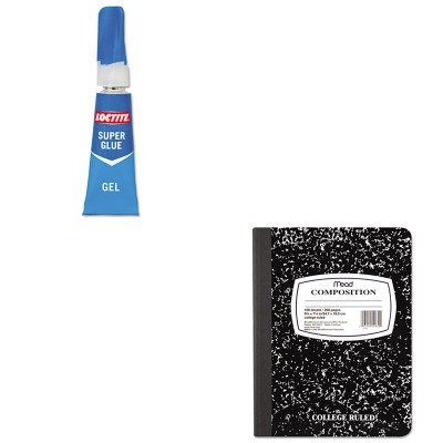 KITLOC1255800MEA09910 - Value Kit - Loctite Super Glue Gel (LOC1255800) and Mead Black Marble Composition Book (MEA09910)