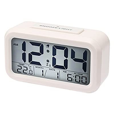 Bon Venu® Brief Style Digital LED Light Alarm Clock Crescendo Bell with Snooze Large HD Screen Display of Date/Time Smart Auto-Temperature Detection(°F/°C)Sensor Night Light