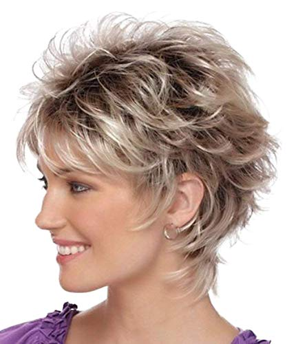 Menoqi Short Wigs for White Women Fluffy Curly Hair Brown Ombre Gray Heat Resistant Synthetic Wig Natural Looking with Wig Cap WIG171