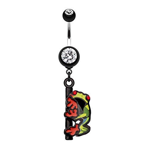 Button Ring Dangling Frog Belly - Dangling Gem Frog WildKlass Belly Button Ring
