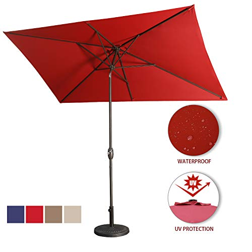 Aok Garden Outdoor Market Umbrella,10×6.5 Feet Square Patio Umbrella with Push Button Tilt and Crank Lift Ventilation,8 Sturdy Ribs Non-Fading Sunshade,Wine Red