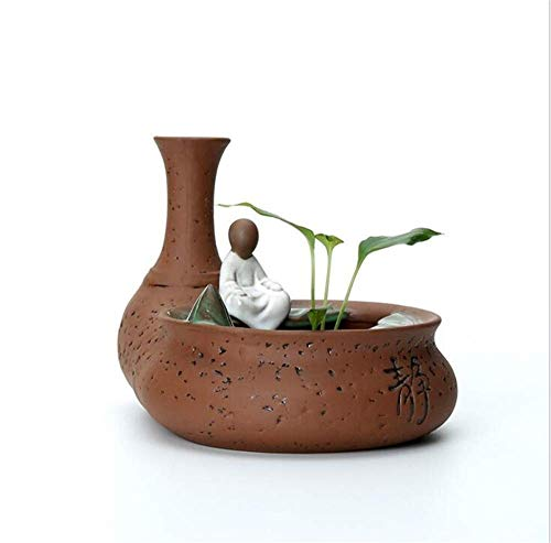 Resin Ornament Sunken Temple - Incense burner Backflow Incense Burner Creative Sitting Lotus Pond No Phase Small Raw Sandalwood Tea Ceremony Tea Pet Home Indoor Ceramic Personality Ornaments (size: 17 12 11 Cm) Household aromat