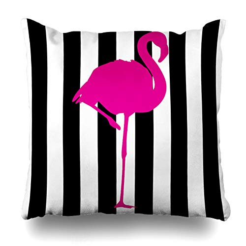 Pakaku Decorativepillows Case Throw Pillows Covers for Couch/Bed 18 x 18 inch,Hot Pink Flamingo Black White Stripes Flamingo Home Sofa Cushion Cover Pillowcase Gift Bed Car Living Home (Flamingo Coral)