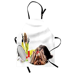 Lunarable Dog Lover Apron, Yorkshire Terrier with Grooming Items Haircut Scissors Mirror Comb Print, Unisex Kitchen Bib with Adjustable Neck for Cooking Gardening, Adult Size, White Yellow 6