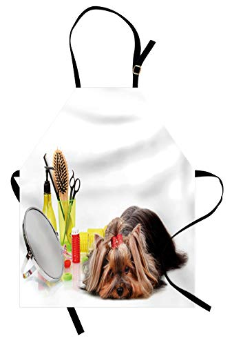 Lunarable Dog Lover Apron, Yorkshire Terrier with Grooming Items Haircut Scissors Mirror Comb Print, Unisex Kitchen Bib with Adjustable Neck for Cooking Gardening, Adult Size, White Yellow 1