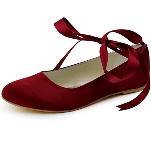 ElegantPark zapatos Bailarinas novia raso Pisos Borgoña de EP11105 Cerrado Mujer FCwBFrq