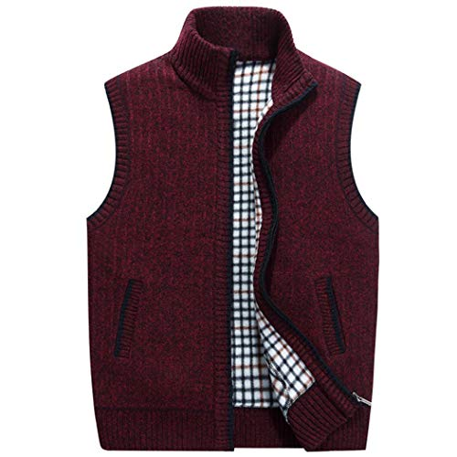 Snowman Lee Mens Travel Solid Full-Zip Sleeveless Thick Knitted Cardigan Sweater Vest Stand Collar Jacket Red XS - Lee Heavyweight Sweatshirt