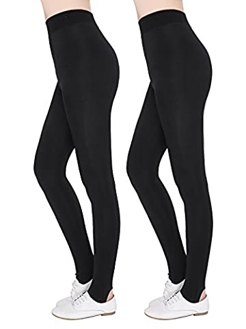 FINEMORE Women's 2 Pack Stirrup Tights Stretchy High Waist Non See Through Leggings Plus Size Black 1 Plus - Opaque Stirrup Tights