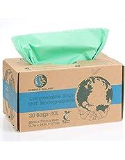 Greener Walker 6 l - 150 zakken, 100% composteerbaar, biologisch afbreekbaar, afvalzakken, 6 l, 10 l, 30 l, voor keuken, levensmiddelen, afvalzakken met EN13432-certificering