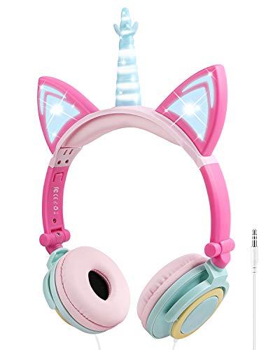Kinder Kopfhörer, Ifecco Faltbare Kopfhörer mit LED Katzen Ohren Verkabelte Over Ear Headset Kopfhörer für iPod iPad iPhone Android Handy Tablet PC MP3 MP4 Playe (Mehrfarbig)