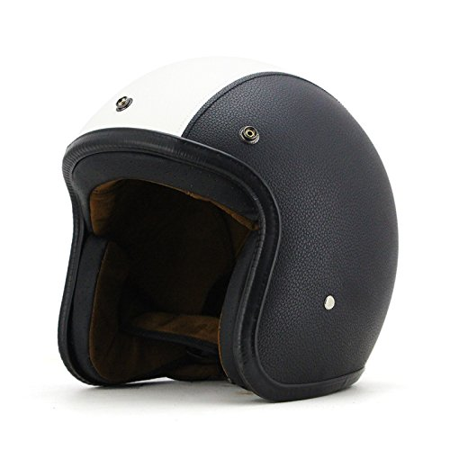 Woljay 3/4 Open Face helmet, Motorcycle Helmet Flat leather Black + White (M)
