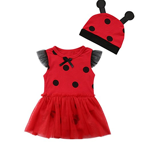 Infant Toddler Baby Girls Ladybug Outfits Tutu Romper+Hat Halloween Party Cosplay Costume (Red, 12-18 Months) ()