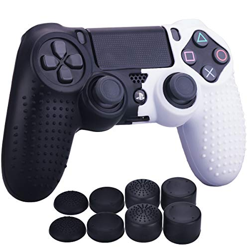 YoRHa Studded Dots Silicone Rubber Gel Customizing Cover for Sony PS4/slim/Pro Dualshock 4 controller x 1(Black&White) With Pro thumb grips x 8 ()