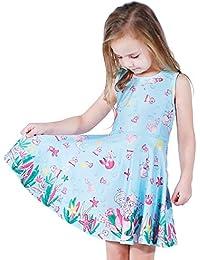 Girls Mermaid Printed Beach Play Sunny Dress Mermaid L