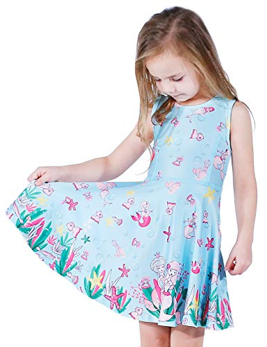LaBeca Girls Mermaid Printed Beach Play Sunny Dress Mermaid L