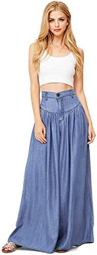 Vibrant Women's Juniors Super Wide Leg Denim Pants