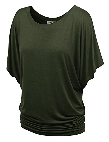 WT742 Womens Boat Neck Short Sleeve Dolman Drape Top L Olive