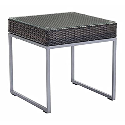 Zuo Malibu Side Table, Brown and Silver - Color: Brown & Silver Frame Construction: Aluminum Frame No Assemble Easy Assembly Required - patio-tables, patio-furniture, patio - 41WJ WHhiAL. SS400  -