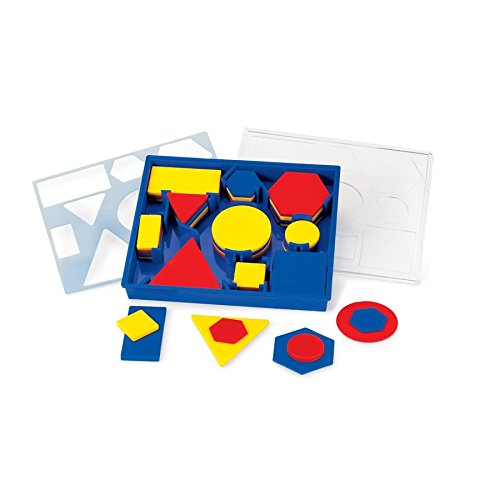 hand2mind Plastic Attribute Blocks, Assorted Colors, with Sorting Tray for Early Geometry (Set of 60) ()