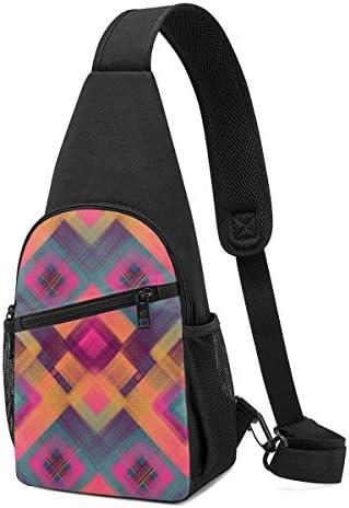 ボディ肩掛け 斜め掛け カラフルなパターン ショルダーバッグ ワンショルダーバッグ メンズ 軽量 大容量 多機能レジャーバックパック