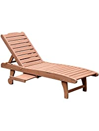 Outsunny Wooden Outdoor Chaise Lounge Patio Pool Chair W/ Pull Out Tray