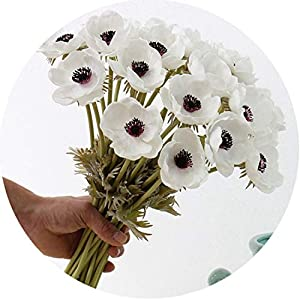 mamamoo Real Touch Artificial Anemone Flowers Silk Flores Artificiales for Wedding Holding Fake Flowers Home Garden Decorative Wreath 91